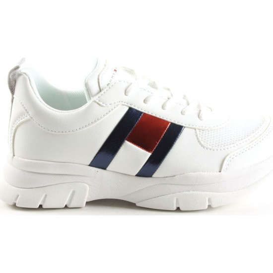 TOMMY HILFIGER T3A4-30633-0968100 LOW CUT LACE UP SNEAKER WHITE
